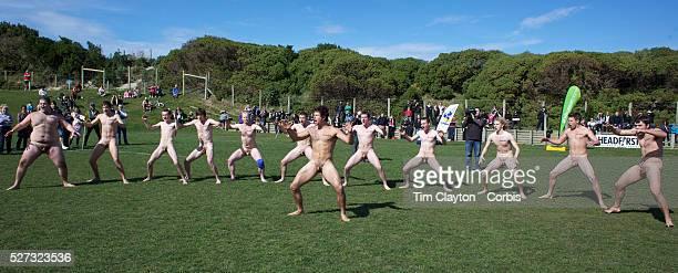 The Nude Blacks perfom the Haka before the Nude Blacks v Spanish Conquistadores nude rugby match Dunedin New Zealand The Dunedinbased Nude Blacks...