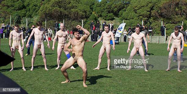 The Nude Blacks perfom the Haka before the Nude Blacks v Spanish Conquistadores nude rugby match Dunedin New Zealand The Dunedinbased Nude Blacks...