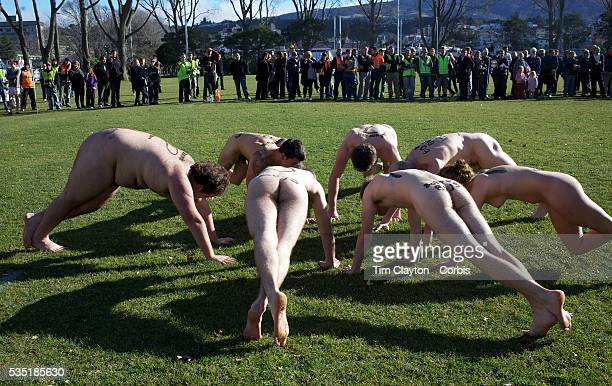 The 'Nude Blacks' warming up before the start of the 'Nude Blacks' versus a Fijian invitation side played at Logan Park Dunedin as an unofficial...