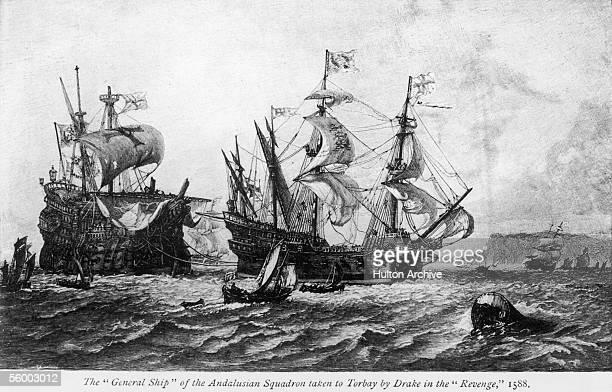 The Nuestra Senora del Rosario flagship of the Andalusian squadron is towed into Torbay in Devon by the HMS Revenge having been captured by Sir...