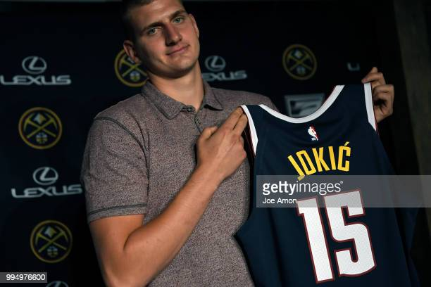 The Nuggets announce a new contract for Nikola Jokic at the Pepsi Center on July 9 2018 in Denver Colorado