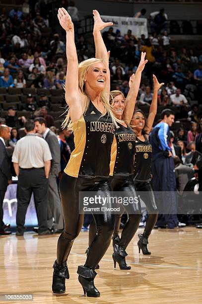The Nuggets Dancers perform during the preseason game between the Oklahoma City Thunder and the Denver Nuggets on October 19 2010 at the Pepsi Center...