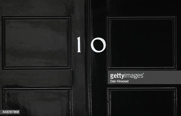 The number 10 Downing Street door is closed following a cabinet meeting on June 27 2016 in London England British Prime Minister David Cameron...