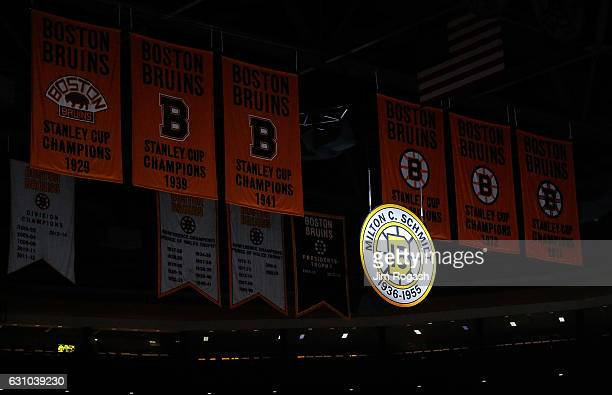 The number 15 of Milt Schmidt the Boston Bruins Hall of Fame center who died at age 98 yesterday is displayed at TD Garden before a game with...