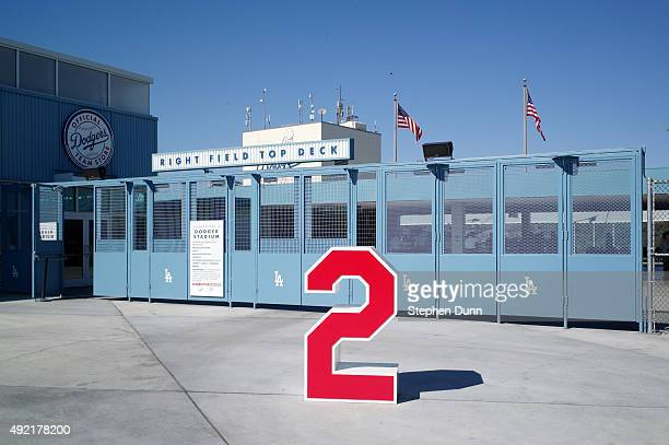 The number 2 worn by Los Angeles Dodgers legend Tommy Lasorda is seen at the Bank of America Retired Numbers Plaza before game two of the National...