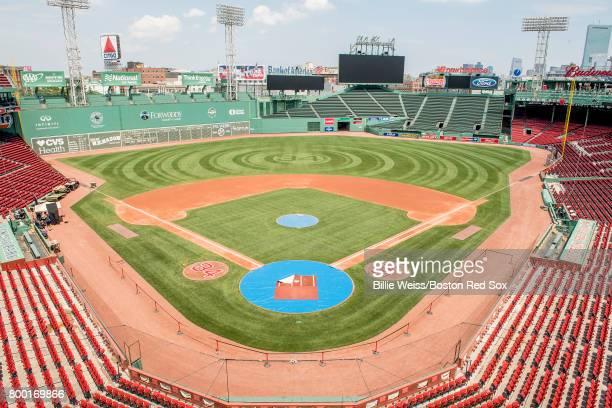 The number 34 is displayed in the on deck circles and the outfield grass ahead of the jersey retirement of former designated hitter David Ortiz of...