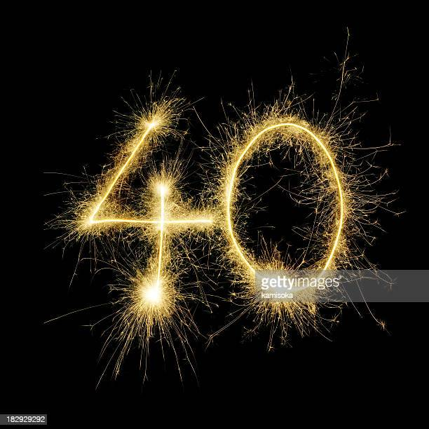 The number 40 written with sparklers