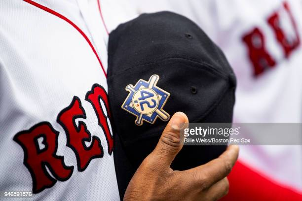 The number 42 patch is shown in recognition of Jackie Robinson Day before a game between the Boston Red Sox and the Baltimore Orioles on April 15...