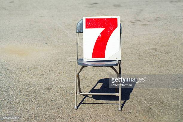 The number 7 on a chair