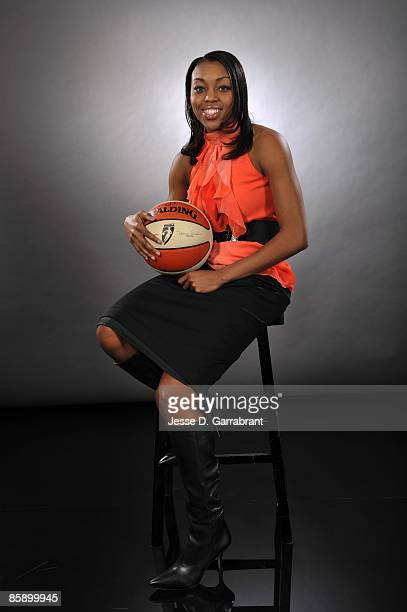 The number four overall pick Renee Montgomery of the Minnesota Lynx poses for a portrait during the 2009 WNBA Draft on April 9 2009 in Secaucus New...