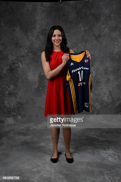 The number nine overall pick Natalie Achonwa of the Indiana Fever poses for a portrait during the 2014 WNBA Draft Presented By State Farm on April 14...