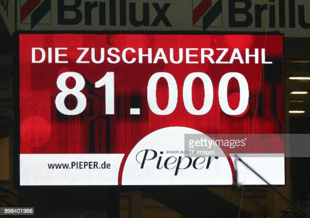 The number of viewers is seen on the scoreboard during the Bundesliga match between Borussia Dortmund and TSG 1899 Hoffenheim at Signal Iduna Park on...