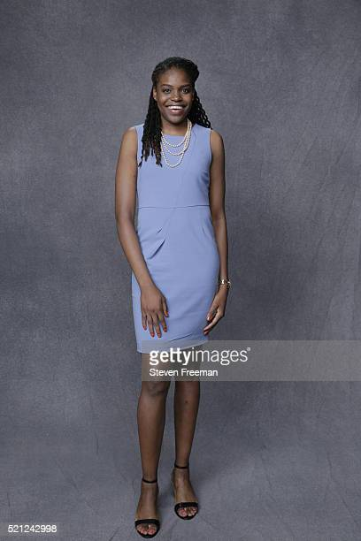 The number six overall pick by the Los Angeles Sparks Jonquel Jones poses for a portrait during the 2016 WNBA Draft Presented By State Farm on April...
