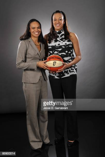 The number three overall pick Kristi Toliver of the Chicago Sky and number two overall pick Marissa Coleman of the Washington Mystics poses for a...