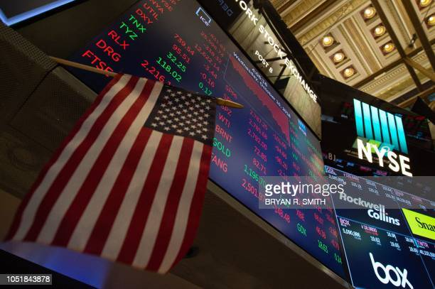 The numbers are displayed after the closing bell of the Dow Industrial Average at the New York Stock Exchange on October 10 2018 in New York Wall...
