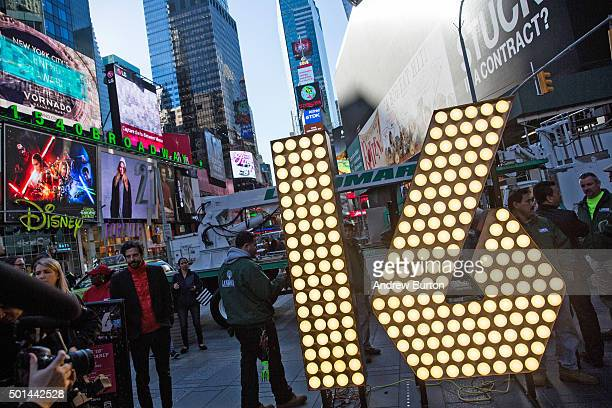 The numerals '1' and '6' to be used to spell out '2016' during the Times Square New Years Eve celebration are unveiled in Times Square on December 15...