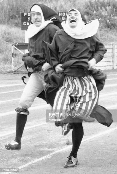 The Nun's Olympics The 100 metre dash by two nuns in the form of left Kevin Moran and right David Cannon 4th September 1972