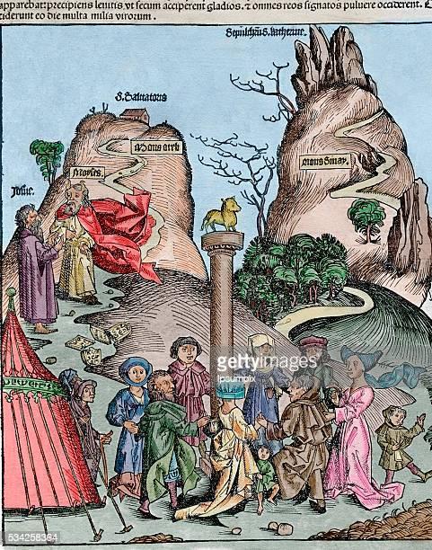 The Nuremberg Chronicle by Hartmann Schedel 1493 IllustratorMichael Wolgemut and Wilhelm Pleydenwurff Language Latin German Engraving The Adoration...