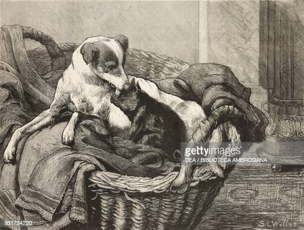 The nurse and her patient, a dog with a pig, illustration from the magazine The Graphic, volume XV, no 391, May 26, 1877.