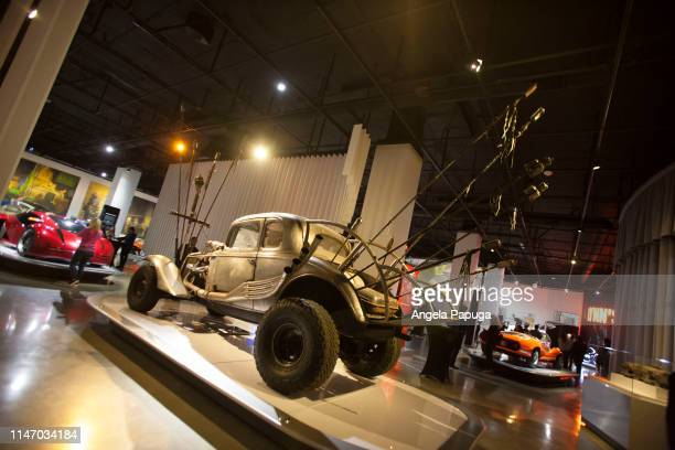 The Nux Car from Mad Max Fury Road is seen during the opening of the new exhibit Hollywood Dream Machines Vehicles Of Science Fiction And Fantasy at...