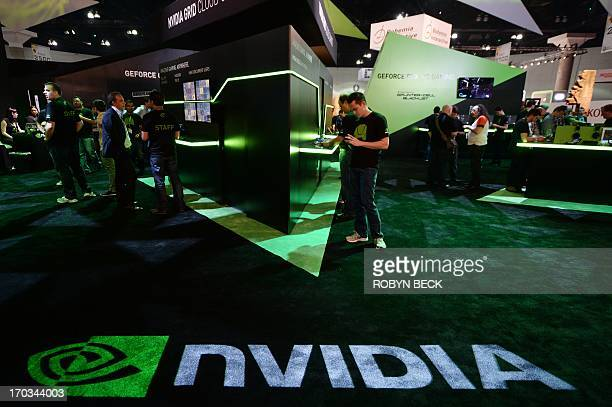 The Nvidia display is seen on the first day of the Electronic Entertainment Expo in Los Angeles, California, June 11, 2013. The Electronic...