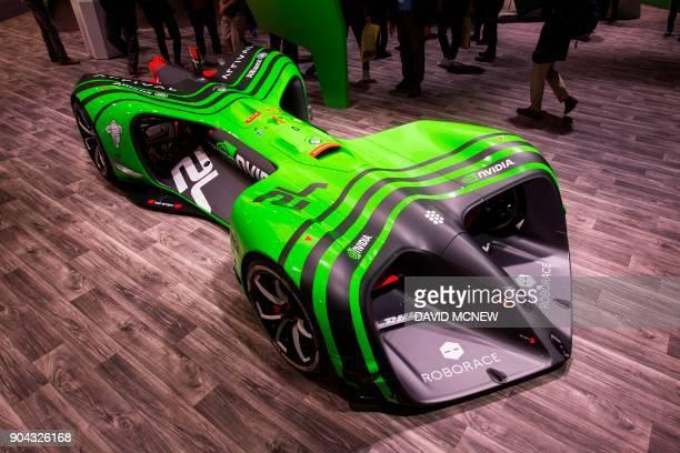 The Nvidia Roborace autonomous concept race car is displayed at CES in Las Vegas Nevada January 12 2018 / AFP PHOTO / DAVID MCNEW