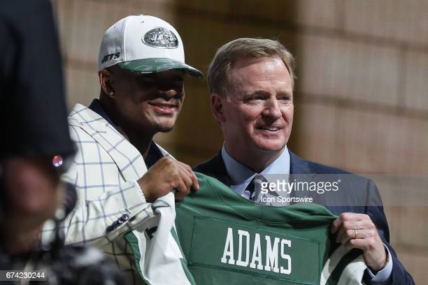 The NY Jets select Jamal Adams of LSU with the sixth pick at the 2017 NFL Draft and poses with NFL Commissioner Roger Goodell at the 2017 NFL Draft...