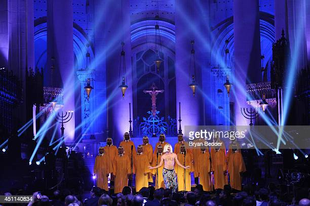 """The NYC Gay Men's Chorus and Ryan Heffington perform onstage with Sia during Logo TV's """"Trailblazers"""" at the Cathedral of St. John the Divine on June..."""