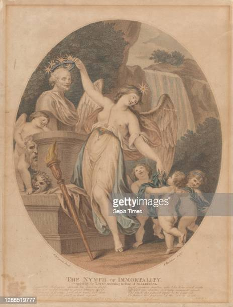 The Nymph of Immortality, Attended by the Loves, Crowning the Bust of Shakespeare, September 1784, Stipple engraving and etching, hand colored; fifth...