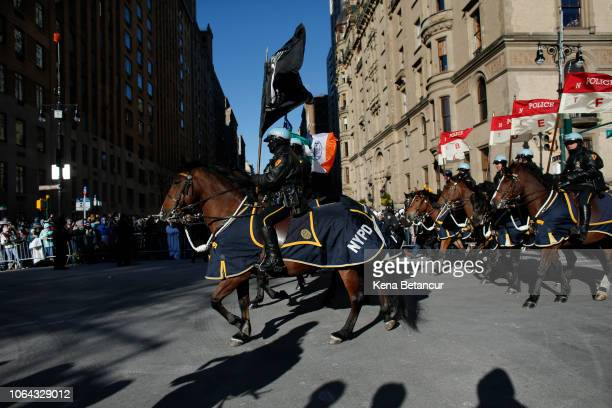 The NYPD Mounted Unit makes its way down the route during the 92nd annual Macy's Thanksgiving Day Parade on November 22 2018 in New York City