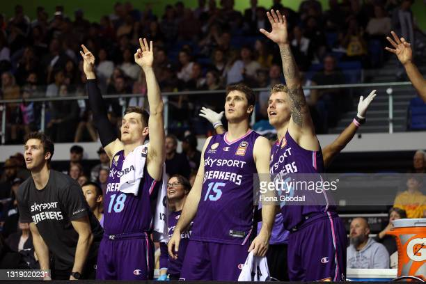The NZ Breakers bench react during the round 19 NBL match between the New Zealand Breakers and Sydney Kings at Trusts Stadium on May 20 in Auckland,...