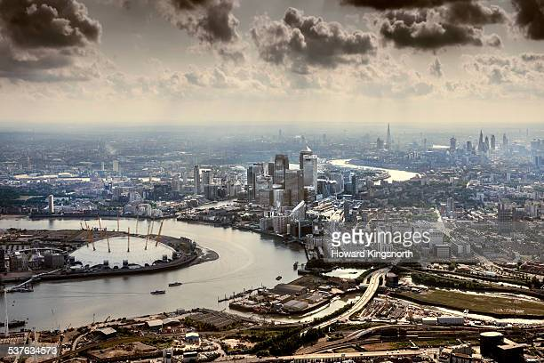 the o2 and canary wharf from the air - the o2 england stock pictures, royalty-free photos & images
