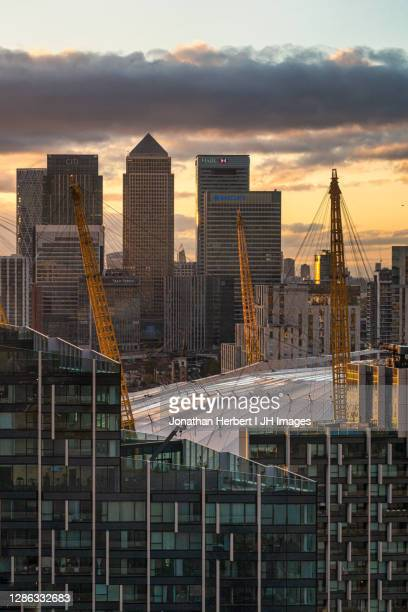 the o2 and canary wharf - the o2 england stock pictures, royalty-free photos & images