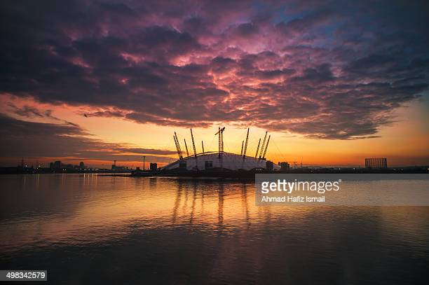 The O2 Arena at dramatic sunrise.