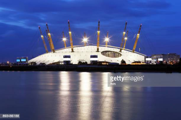 the o2 near thames river at blue hour (london/ uk) - dome stock pictures, royalty-free photos & images