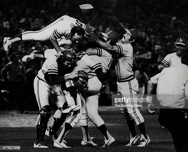 The Oakland Athletics celebrate after they won 32 against the Los Angeles Dodgers in Game Five of the 1974 World Series on October 17 1974 at...