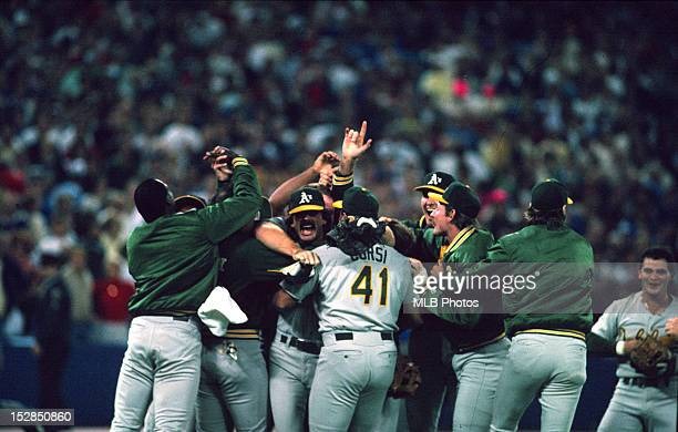 The Oakland Athletics celebrate after winning the 1989 World Series by defeating the San Francisco Giants 96 in Game Four on October 28 1989 at...