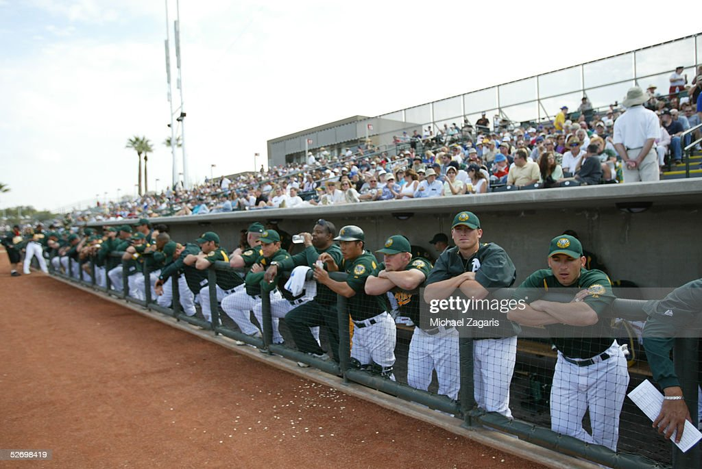 The Oakland Athletics during the MLB game against the Chicago Cubs at Phoenix Municipal Stadium on March 3, 2005 in Phoenix, Arizona. The Cubs defeated the A's 2-1.