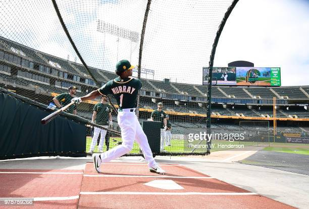The Oakland Athletics number one draft pick Kyler Murray an outfielder out of the University of Oklahoma takes batting practice prior to the start of...