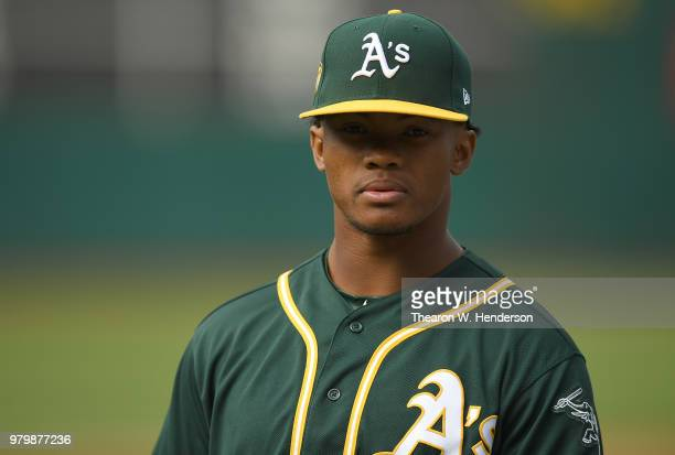 The Oakland Athletics number one draft pick Kyler Murray an outfielder out of the University of Oklahoma looks on during batting practice prior to...