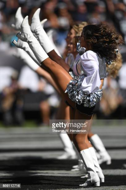 The Oakland Raiders Raiderettes perform during their NFL game against the Baltimore Ravens at OaklandAlameda County Coliseum on October 8 2017 in...