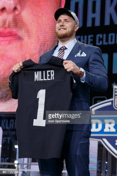 The Oakland Raiders select UCLA Offensive Tackle Kolton Miller fifteenth overall during the first round of the NFL Draft on April 26, 2018 at AT&T...