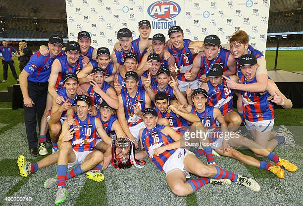 The Oakleigh Chargers celebrate winning the TAC Cup Grand Final match between the Eastern Ranges and the Oakleigh Chargers at Etihad Stadium on...