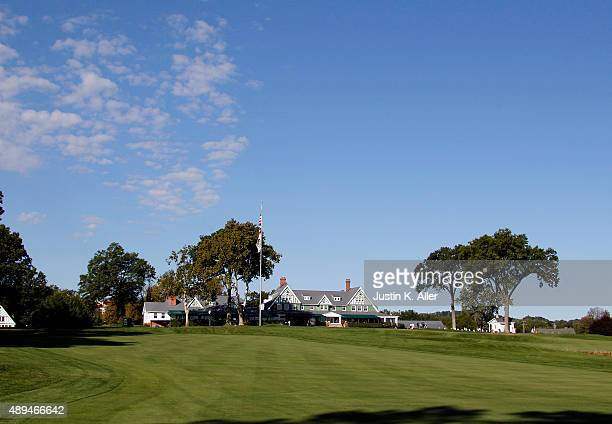 The Oakmont clubhouse is seen from the 1st fairway during the 2016 US Open Media Day at Oakmont Country Club on September 21 2015 in Oakmont...