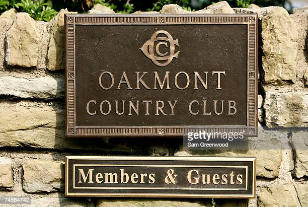 The Oakmont Country Club sign is seen at the entrance to the club during the final practice round prior to the start of 107th US Open Championship on...