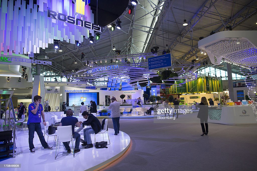 The OAO Rosneft pavilion stands amongst other company displays ahead of the St. Petersburg International Economic Forum 2013 (SPIEF) in St. Petersburg, Russia, on Wednesday, June 19, 2013. The Russian Deputy Prime Minister Igor Shuvalov told the conference that the country's World Trade Organization accession negotiations could be further delayed unless several remaining disputed matters are solved. Photographer: Simon Dawson/Bloomberg via Getty Images