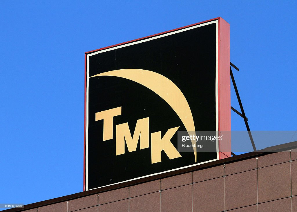 The OAO TMK company logo sits outside the company's plant in
