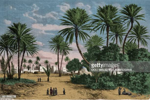 The oasis of Gafsa Tunisia drawing by Alexandre De Bar from a photograph by Rebatel from Voyage dans la regence de Tunis by Drs Fleury Rebatel and...