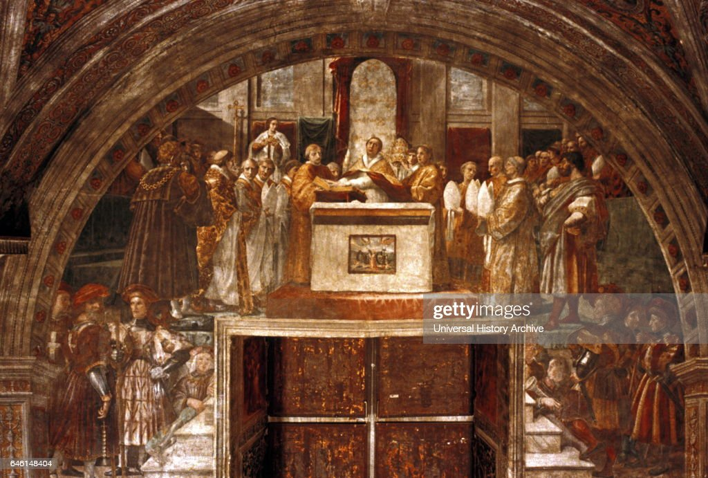 The Oath Of Leo III Detail 1516 1517 Fresco Painting By