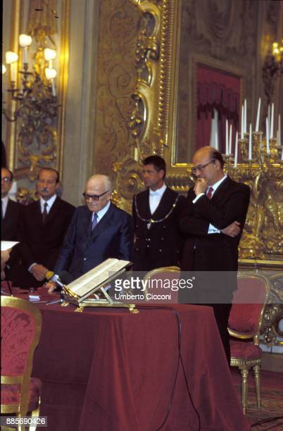 The oath of politician Bettino Craxi to become Prime Minister in front of the Head of State Sandro Pertini Quirinal Palace 1983